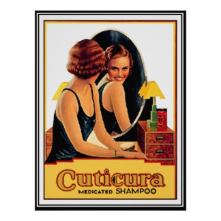 Cuticure medicated shampoo vintage poster