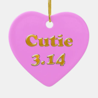 Cutie 3.14 Pi Day Pink Ceramic Ornament