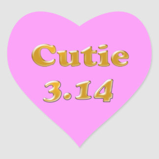 Cutie 3.14 Pi Day Pink Heart Sticker