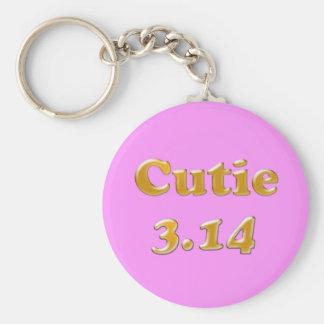Cutie 3.14 Pi Day Pink Keychain
