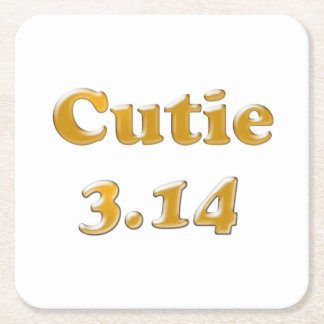 Cutie 3.14 Pi Day Square Paper Coaster