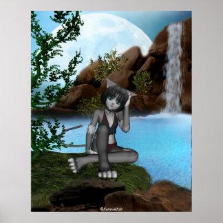 Cutie Anime Kitten Waterfalls Moon 3 Poster