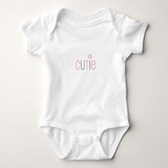 Cutie, baby girl, pink grey modern baby bodysuit