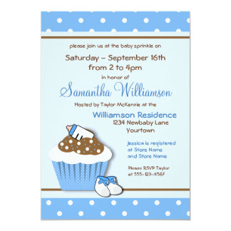 Cutie Blue Cupcakes Baby Sprinkle Invitations