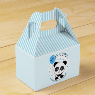 Cutie Blue Panda Birthday Party Favor Box