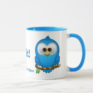 Cutie Blue Tweet Bird Personalized Mug