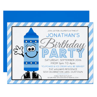 Cutie Cartoon Blue Crayon Party Invitation