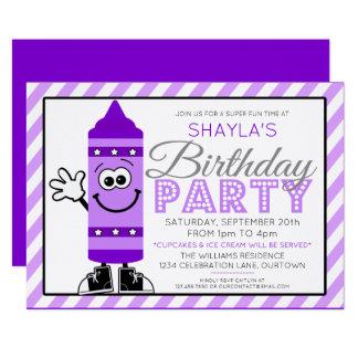 Cutie Cartoon Purple Crayon Party Invitation