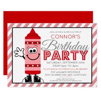 Cutie Cartoon Red Crayon Birthday Party Invitation