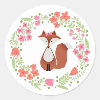 Cutie Fox Floral Wreath Classic Round Sticker