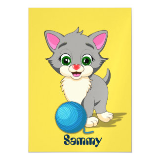 Cutie Grey Kitten Cartoon Magnetic Card