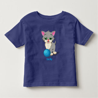 Cutie Grey Kitten Cartoon Toddler T-shirt