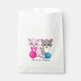 Cutie Pink and Grey Kittens Cartoon Favour Bag