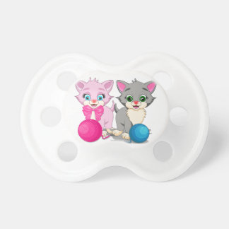 Cutie Pink and Grey Kittens Cartoon Pacifier