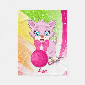 Cutie Pink Kitten Cartoon Fleece Blanket