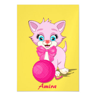 Cutie Pink Kitten Cartoon Magnetic Card