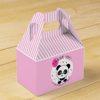 Cutie Pink Panda Birthday Party Favor Box