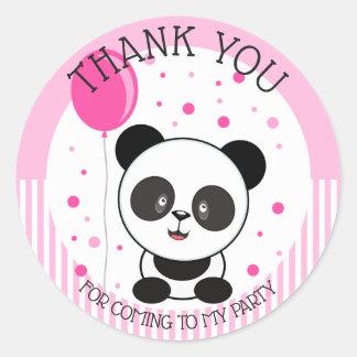 Cutie Pink Panda Birthday Thank You Classic Round Sticker