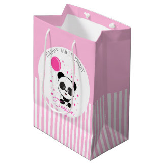 Cutie Pink Panda Personalized Birthday Medium Gift Bag
