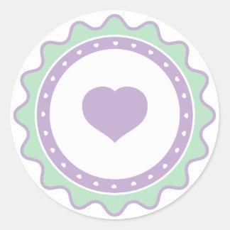Cutietoots Green/Purple Hearts Sticker