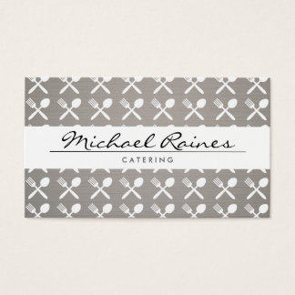 CUTLERY PATTERN on LINEN BKGRD for CATERING, CHEFS Business Card