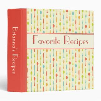 Cutlery pattern personalized recipe binder