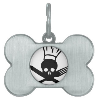 cutlery skull with chef hat cook icon pet name tag