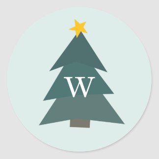 Cutout Christmas Tree | Holiday Monogram Classic Round Sticker