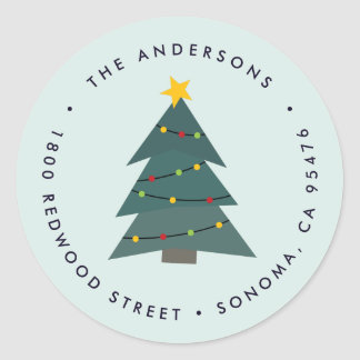 Cutout Christmas Tree | Holiday Return Address Classic Round Sticker