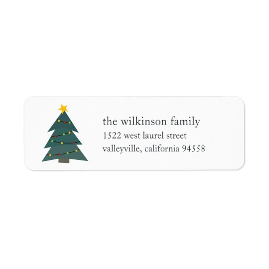 Cutout Christmas Tree   Holiday Return Address Label