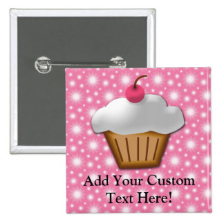 Cutout Cupcake with Pink Cherry on Top 2 Inch Square Button