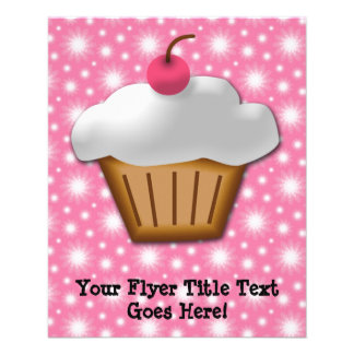 Cutout Cupcake with Pink Cherry on Top Flyer Design