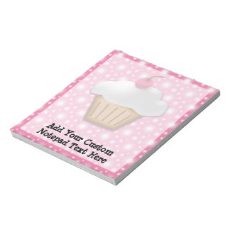 Cutout Cupcake with Pink Cherry on Top Notepad
