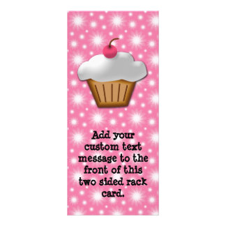 Cutout Cupcake with Pink Cherry on Top Rack Card