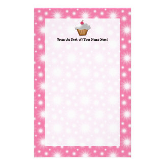 Cutout Cupcake with Pink Cherry on Top Customized Stationery