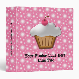 Cutout Cupcake with Pink Cherry on Top Vinyl Binder