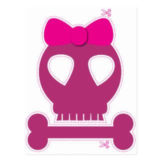 CUTOUT! pink skull girl Postcard