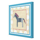 Cutout Zebra on Cream Background Canvas Print
