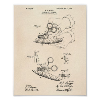Cutter For Cigars 1906 Patent Art Old Peper Poster