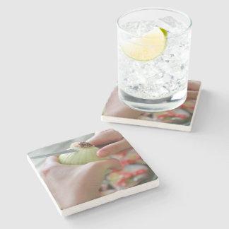 Cutting an onion stone beverage coaster