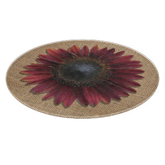 Cutting Board - Burlap and Bordeaux Sunflower