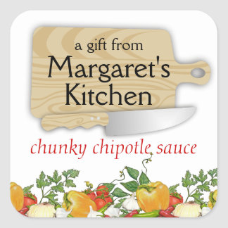 Cutting board chefs knife vegetables gift label square sticker