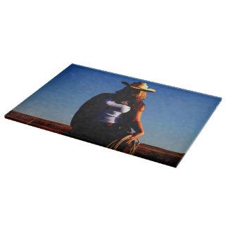 Cutting Board Glass Western Cowgirl