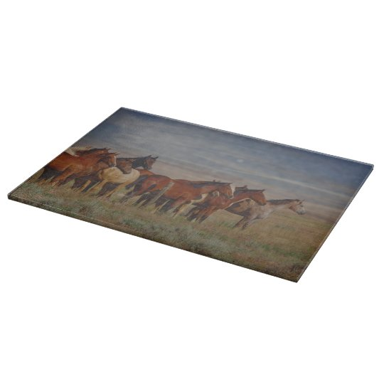 Cutting Board Glass Western Horse