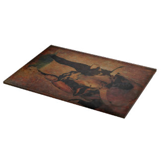 Cutting Board Glass Western Steers