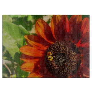Cutting Board Glass Western Sunflower Bumble Bee