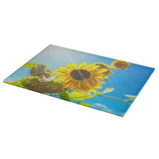 Cutting Board Glass Western Sunflowers