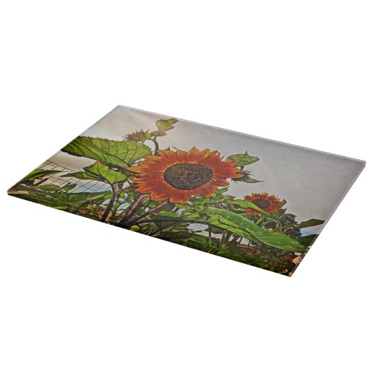 Cutting Board Glass Western Sunflowers