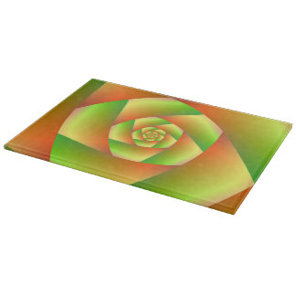 Cutting Board  Spiral in Yellow Orange and Green