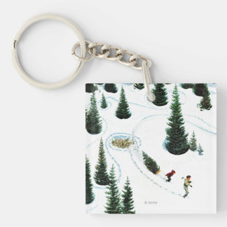 Cutting Down the Tree Double-Sided Square Acrylic Keychain